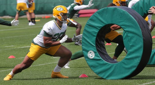 Green Bay Packers running back A.J. Dillon during the second day of organized team activities on May 25.