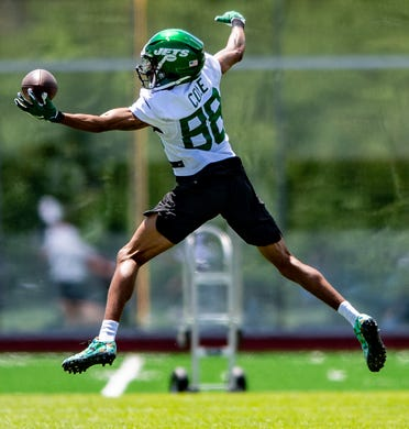 New York Jets wide receiver Keelan Cole participates in a drill during an OTA at Jets Atlantic Health Training Center on May 27.