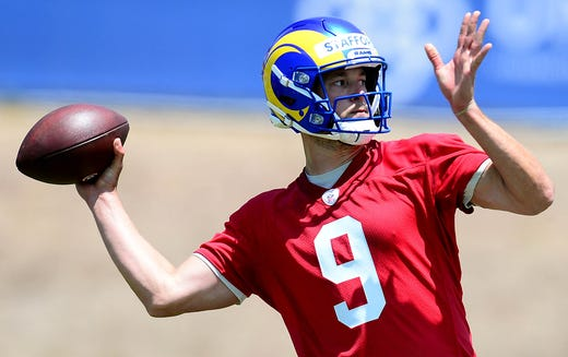 Los Angeles Rams quarterback Matthew Stafford during organized team activities on May 27.