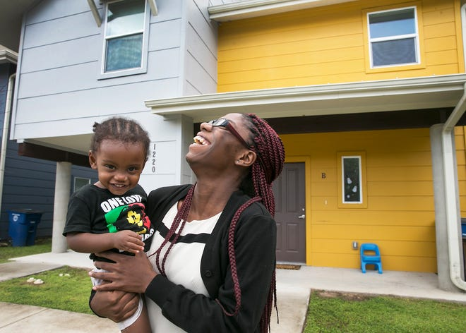 Jeremiah Program participant Deja Phillips with her young son, Rashad Hill, participated in the Jeremiah Program, which offers housing and child care for single mothers. Jeremiah Program was one of 20 recipients of the grants from the Women's Fund of Austin Community Foundation.