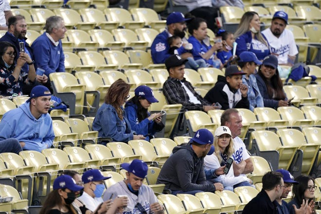 Several fans are seen without masks as they watch the Miami Marlins play the Los Angeles Dodgers in Los Angeles on May 14. [AP PHOTO/MARK J. TERRILL/FILE]