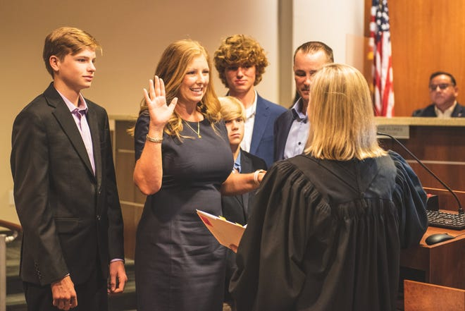 Kristin Stevens, with her husband Sean and her three sons, Cade, Parker and Zack was sworn in by Texas Supreme Court Justice Jane Bland on Thursday night for Place 5 on the Round Rock City Council.
