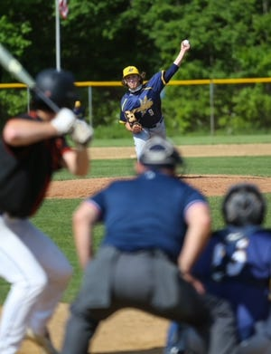 Tallmadge starting pitcher James Catherine on the mound against Chagrin Falls. The Blue Devils fell to the Tigers 8-6 in a Division II district final game at Twinsburg on Thursday, May 27, 2021