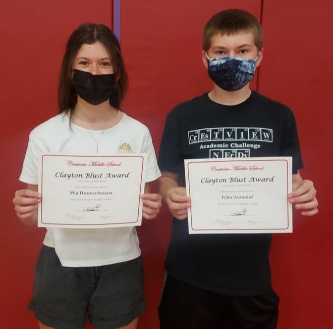 Crestview Middle School students Mia Humrichouser and Tyler Aumend won the Clayton Blust Award, which is presented to one male and one female eighth-grader who displays leadership, honor and strong character in and out of the classroom.