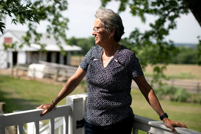 Democrat Janine Shipley, on her family dairy farm in Licking County, participated in a Braver Angels workshop, a depolarization organization that foster conversations between reds and blues. Tuesday, May 25, 2021.