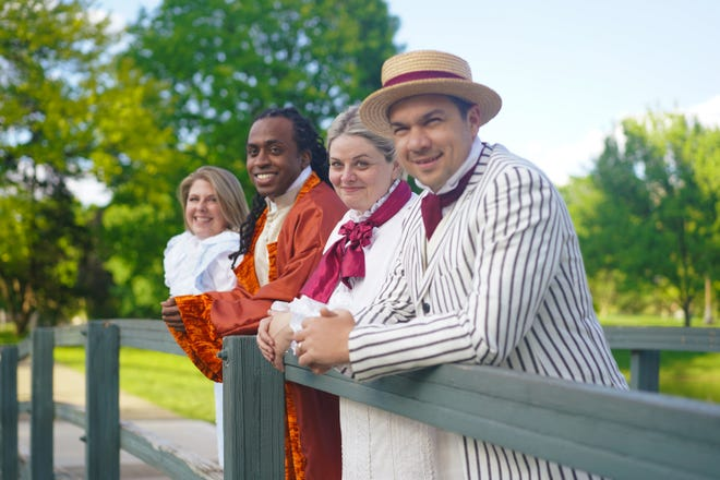"""Left to right: Megan Lear with Duncan McKennie, Susan Wismar and Drew Eberly in the Actors' Theatre of Columbus production of """"Much Ado About Nothing."""""""