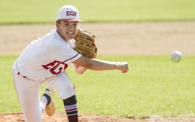 Logan Spencer pitches for the East Grand Forks Babe Ruth team in July 2020.