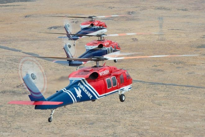 Flying Firehawk helicopters are shown.