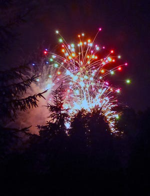 North-end residents were able to take in the Fourth of July fireworks, held at Kinney Field, from the comfort of their lawn. Here is the view from Taylor Drive in this Daily Record file photo.