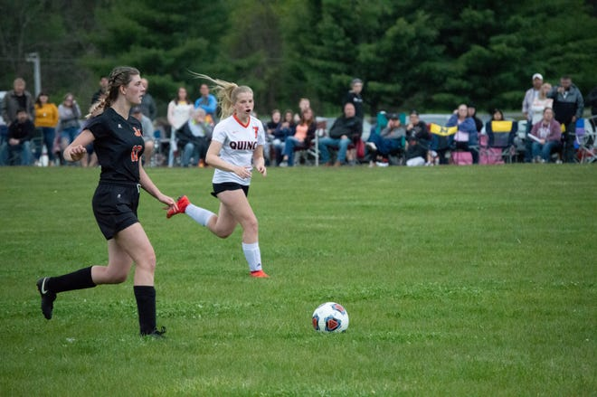 Jonesville Soccer in game action against Quincy on Homecoming night.