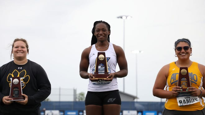 GVSU's Judith Essemiah won the NCAA title in the hammer throw on Thursday in Allendale.