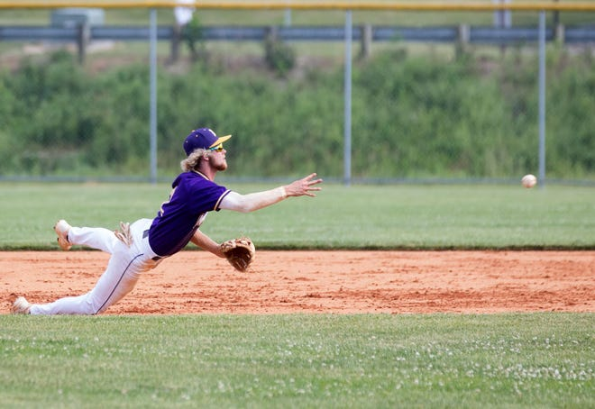 North Henderson shortstop Brayden Corn tosses the ball to second during the Knights' game against the Asheville Cougars earlier this season at North.