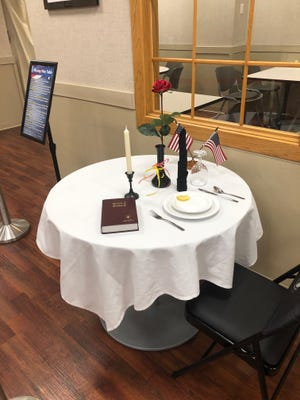 Visitors to the Hutchinson Regional Medical Center Cafeteria will notice the Fallen Comrade, Missing Man table displayed this Memorial Day.
