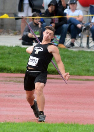 Newton senior Kenyon Forest won the javelin at the Class 5A state meet. The Railer boys finished tied for 15th in the team standings.