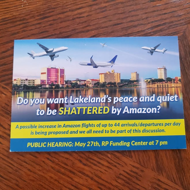 A mailer sent in advance of the city's public hearing last week on a proposed expansion of Amazon's air freight operation at Lakeland Linder International Airport.