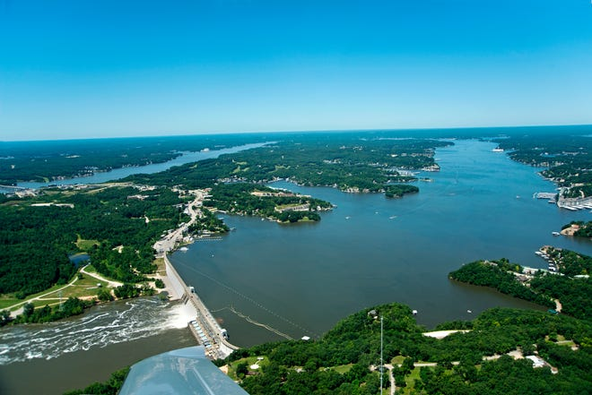 An aerial photo of Bagnell Dam.