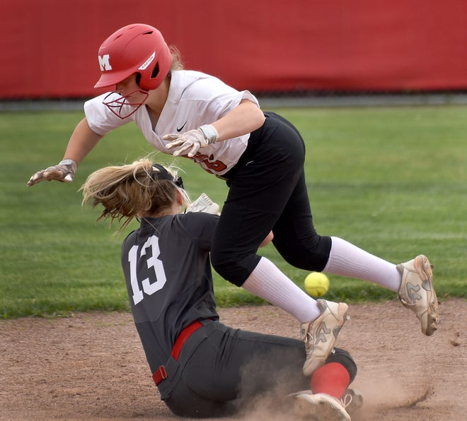 Pinch runner Natalie Fortune of Monroe collided into second baseman Payton Pudlowski of Bedford on a stolen base attempt Thursday. Monroe swept the doubleheader 6-2 and 8-5