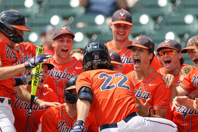 Virginia celebrates Jake Gelof's three-run home run in the second inning of its 14-1 win over Notre Dame in Friday's pool play for the ACC Baseball Championship in Charlotte, N.C.