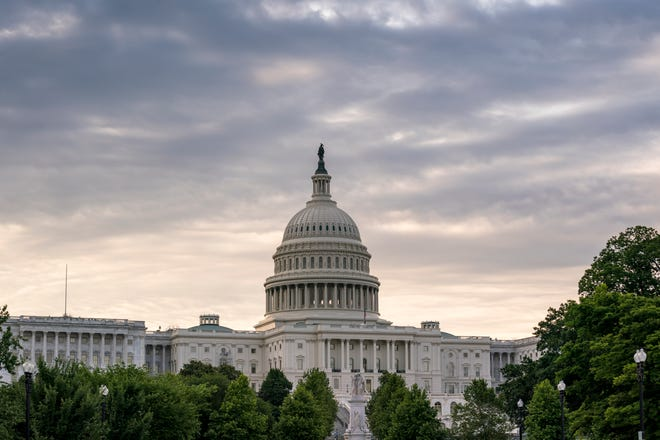 The Capitol is seen Friday in Washington, D.C., as the Senate tries to finish to its work going into the Memorial Day recess with Republican leaders insisting they will block a commission on the Jan. 6 insurrection by a mob loyal to former President Donald Trump.