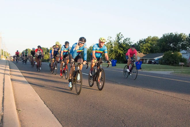 Riders begin their route during the 2019 Norman Conquest bike tour. The annual event is set for July 10 with the ride starting and ending at the J.D. McCarty Center for children with developmental disabilities at 2002 E Robinson St. The event benefits the center's Camp ClapHans program.