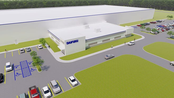 This rendering shows the planned appearance of a new Boyne City plant which Daifuku North America plans to open in 2022 for its Jervis B. Webb Co. subsidiary.