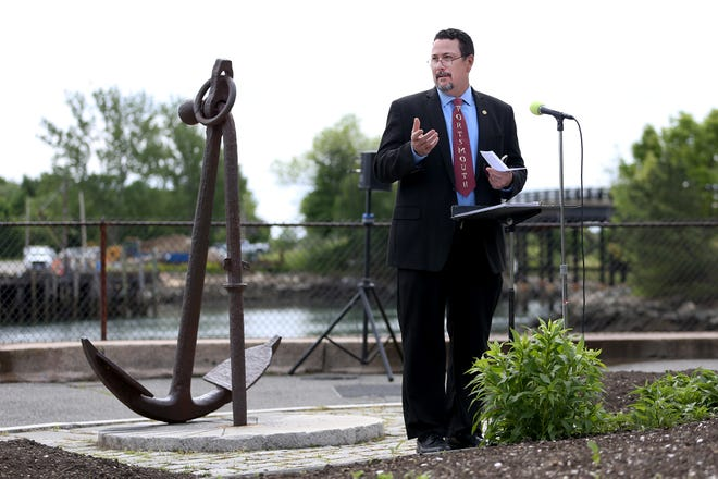 Mayor Rick Becksted speaks during the Portsmouth Burial at Sea event Friday, May 28, 2021, at Prescott Park.