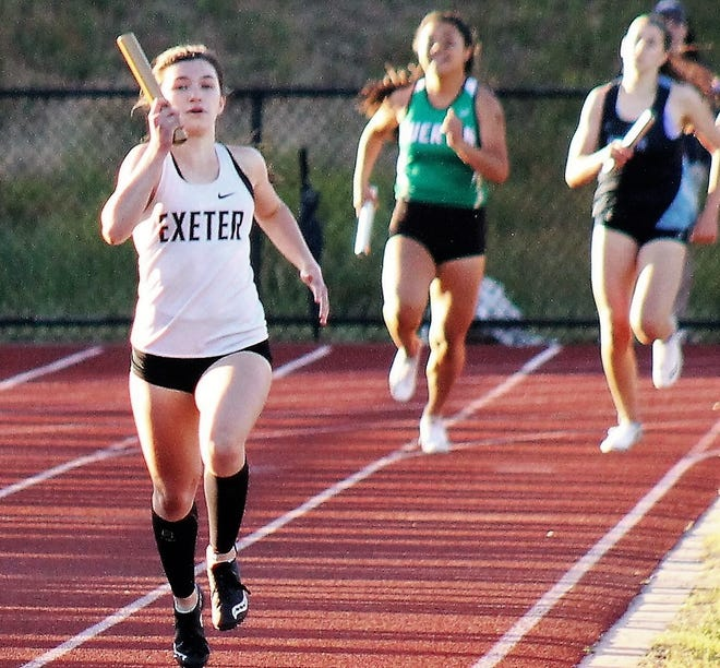 Exeter High School junior Sydney Lavelle, shown here at last month's Division I state track meet, placed first in the 300-meter hurdles at Saturday's Meet of Champions in a time of 46.27 seconds. She then teamed up with freshman Clara Knab, senior Autumn Agri, and sophomore MeadowGregory to win the 4x400-meter relay in4:07.06.