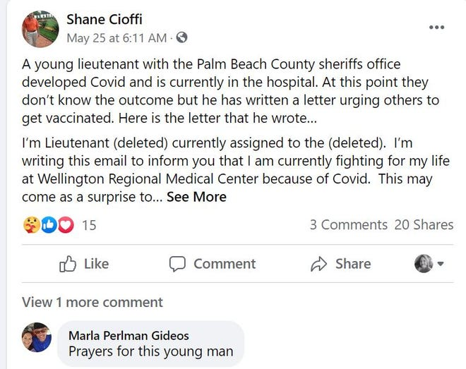 This is a letter from a lieutenant from the Palm Beach County sheriff's office who has spent nearly a month struggling to breathe as he battles COVID-19.