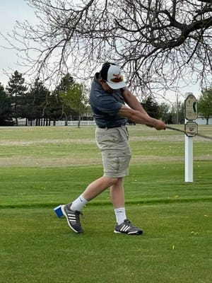 Junior Bryson Brown competes at the Kiowa County Invitational held at the Cannon Ball Golfcourse in Greensburg.