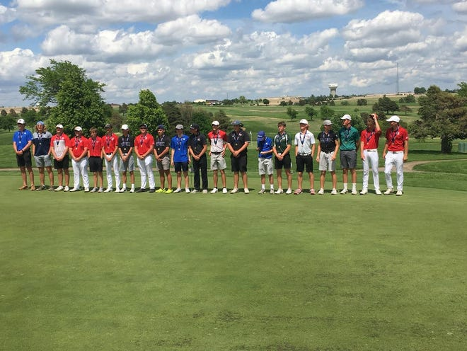 Pratt High School golfer Zach Vandevoort, sixth from the right, takes his place among the state's elite in 4A at the state tournament on Thursday, May 27 in Dodge City.