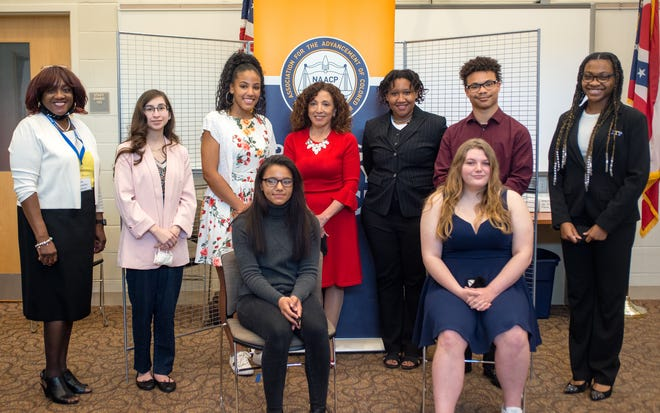 The Portage County NAACP recent honored Portage County students during the 2021 scholarship celebration. Back row from left are Dr. Geraldine Hayes Nelson, president of the Portage County NAACP, Olivia Gallardo, Breanna Larkin, Sharlene Ramos Chesnes, Joitashe Miller, Zakya Jones andBrianna Boykin, who was the speaker for the event. In front areTyonna Caples, left, and Jade Coates.