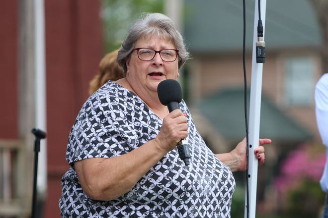 """Mantua Mayor Linda Clark, seen here addressing a crowd and new business owners during a ribbon cutting ceremony recently, was investigated a year ago. Now, council will have an executive session to discuss """"complaints against a public official."""""""