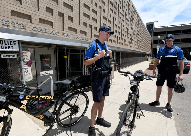 The Canton Police Department has a new Bike Patrol unit, with officers Tony Angelo, left, and Richard Zeren leading the effort. The patrol was recently launched downtown.