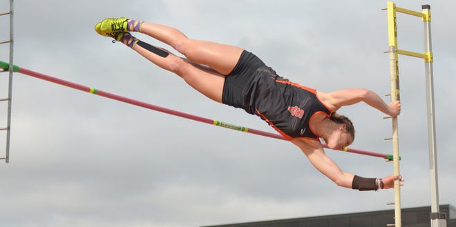 Smoky Valley's Belle Peters makes an attempt in the pole vault  at the Class 3A state track and field meet at Cessna Stadium in Wichita State on Friday.