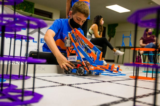 Carson Gorsuch, 11, works on programming a robot before the VEX World Championship robotic competition Monday, May 24, 2021 at Hums Elementary in Mishawaka. The district plans to emphasize STEM activities in its 2021 summer programs.