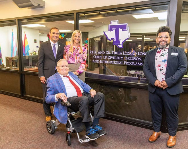 Tarleton President James and First Lady Kindall Hurley are pictured with Joe R. Long, center, and Tiburcio Lince, right, of TSU's Office of Diversity, Inclusion and International Programs, during a recent unveiling of the newly named department in honor of Long and his wife, Dr. Teresa Lozano Long.