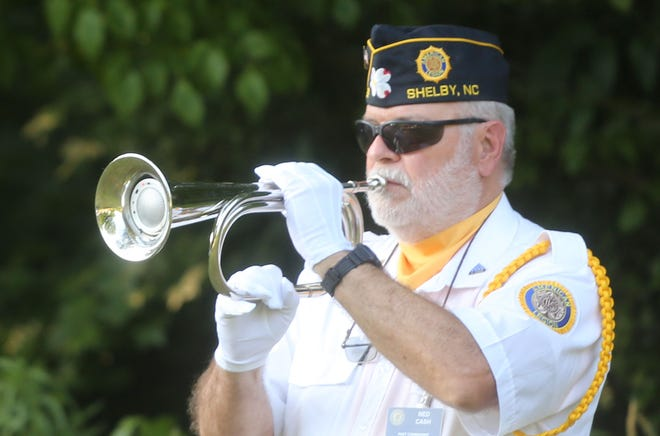 Bugler Ned Cash played taps to close out the ceremonies hosted by the Sons of the American Legion Squadron No. 82 Thursday, May 27, 2021.