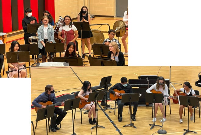 (Top) Butterfield-Odinseniors, Sabrina Handson (left) and Alma Rodriguez, were spotlighted during their final high school band concert on May 17. (Below) Theguitarstudentsperformed with director Levi Jahnke (left) at the spring concert, from left: Kainyana Xayaphonesongkham, William Ambrocio Benavente, Lexia Sykes, and Diana Rodriguez.
