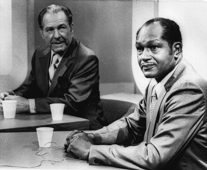 Los Angeles mayoral candidates Sam Yorty, left, the incumbent, and Tom Bradley are shown at a debate in this May 28, 1973 photo. Bradley was elected the next day.