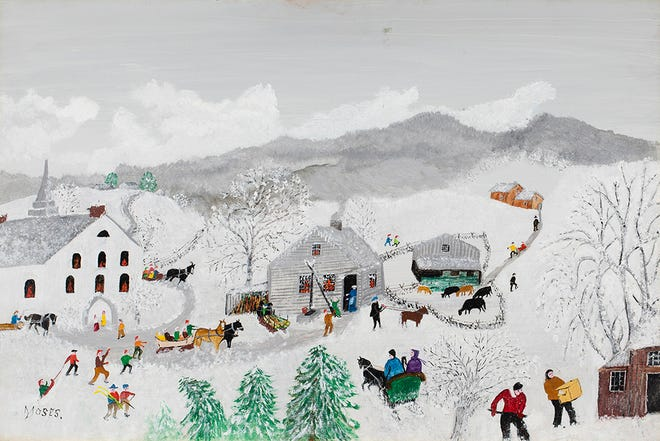 Grandma Moses (nee Anna Mary Robertson, American, 1860-1961), 'Deep Snow,' 1957, oil on Masonite, 22¾ x 30 5/8in (framed), artist-signed at lower left. Titled and dated on original artist's label on verso. Direct line of provenance back to the artist. Copyright Grandma Moses Properties Co., New York. Estimate $60,000-$80,000.