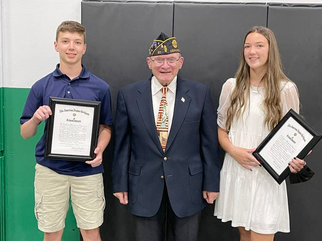 Riley Rumbold, son of Cortni and Ryan Rumbold, and Emerson Nelson, daughter of Lindsey and Marshall Nelson, were presented the American Legion Award at the Wethersfield Junior High 8th Grade Celebration Luncheon held Wednesday, May 26, by Ted Canellos representing American Legion Post of Kewanee.