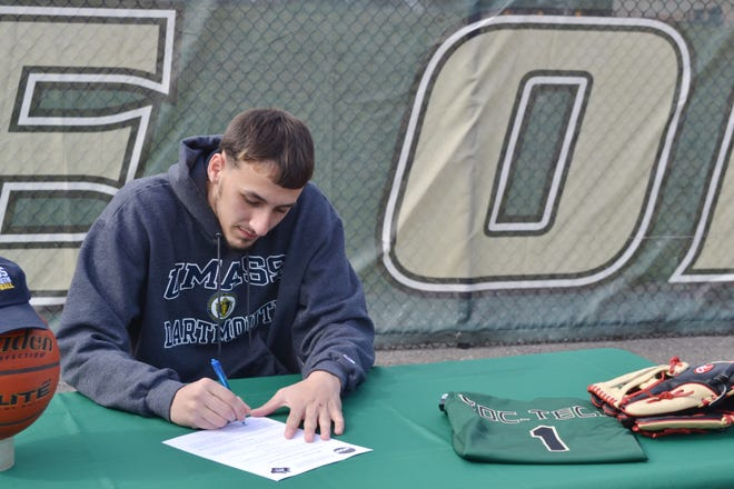 GNB Voc-Tech senior Shane Poitras Jr. recently signed to play basketball and baseball next year at UMass Dartmouth.
