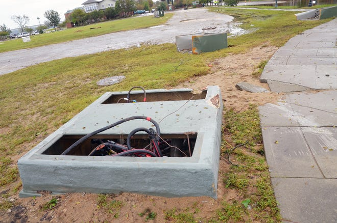 Utility services throughout New Bern received significant damage during Hurricane Florence. Nearly three years after the storm, repair and mitigation efforts continue throughout the city. [TODD WETHERINGTON / SUN JOURNAL STAFF]