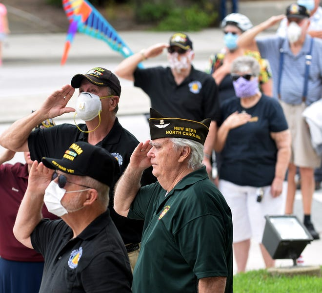 Veterans and local citizens came to honor fallen military men and women in 2020 at the annual Memorial Day ceremony. at the Craven County Courthouse.CHARLIE HALL / SUN JOURNAL]