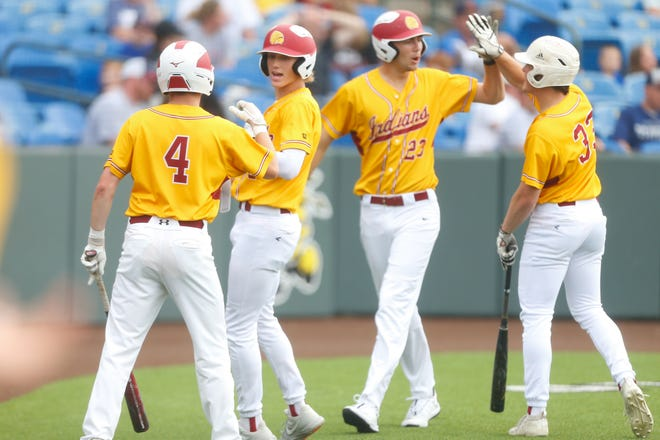 Hays players celebrate an RBI in the second inning of Thursday's quarterfinal game of the state championship inside Eck Stadium at Wichita State University.