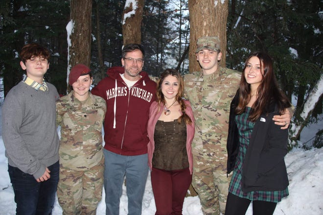 Spc. Abigail Jenks, second from left, is seen with her family during one of her visits back home to New York from Fort Bragg. Jenks died during an April 19, 2021, training operation at Fort Bragg.