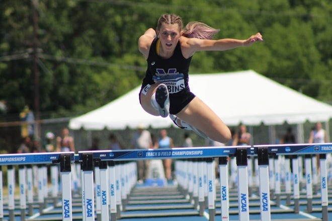 Mount Union's Kennady Gibbins (Fairless) became Mount Union's first-ever All-American in the women's hepthathlon Friday at the NCAA Division III Championships at the Irwin Belk Track at North Carolina A&T University.