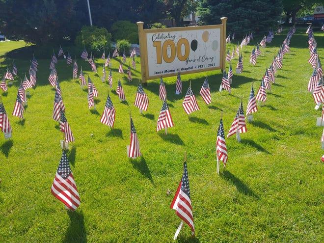 The Jones Memorial Hospital Field of Flags in Wellsville.