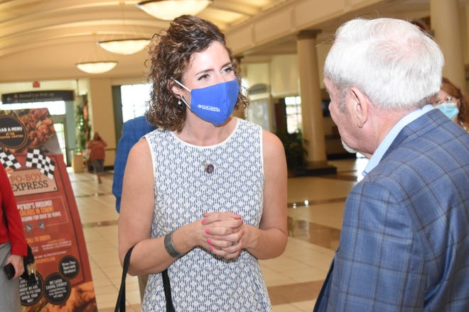 U.S. Rep. Julia Letlow (center) meets with Richard Bushnell (back), one of England Airpark's commissioners Friday, May 28, 2021. Letlow toured Alexandria International Airport and England Airpark while touring various locations in Alexandria that included England Airpark and LSUA.