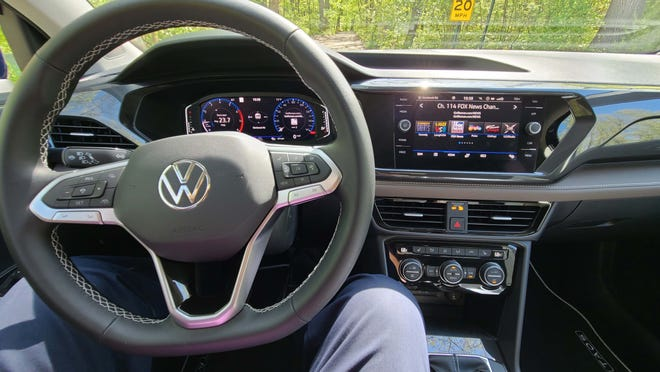 The 2022 VW Taos offers digital displays standard. They can be controlled from the steering wheel as well as by touch (console screen).